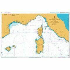1780 Barcelona to Naploi inc. Balearics, Corsica Admiralty Chart