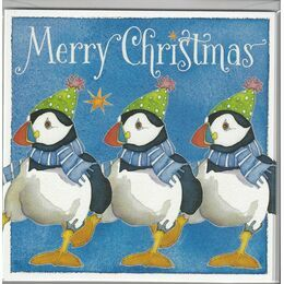 Emma Ball Xmas Cards Dancing Puffins - Pack of 6