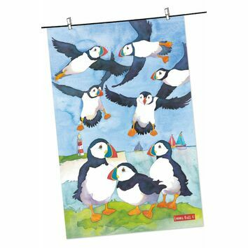 Emma Ball Coastal Puffins Tea Towel