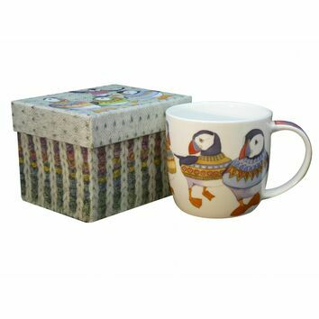 Emma Ball Woolly Puffins Bone China Mug with Gift Box