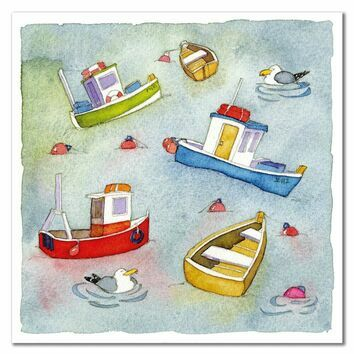 Emma Ball Boats Afloat Greetings Card