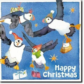 Emma Ball Flying Puffins Christmas Cards (Pack of 6)