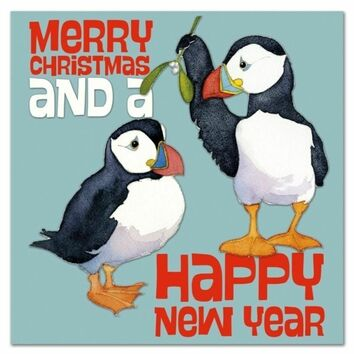 Emma Ball Two Puffins Christmas Cards (Pack of 6)