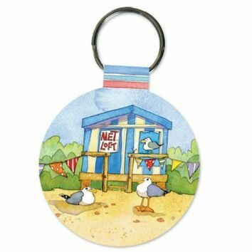 Emma Ball \'Beach Hut\' Keyring