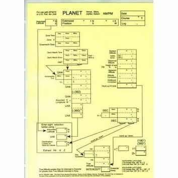 Laminated Sight Reduction Forms - Planet