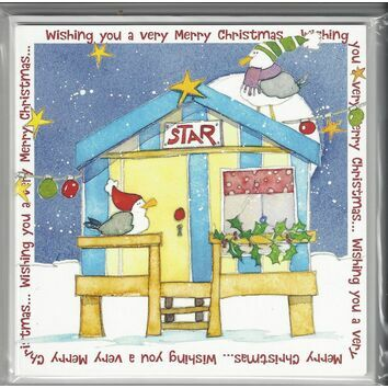Emma Ball Xmas Cards Christmas Beach Hut - Pack of 6