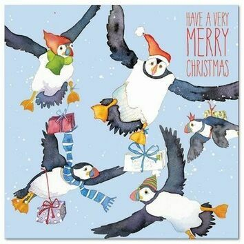 Emma Ball Xmas Cards Flying Puffin - Pack of 6