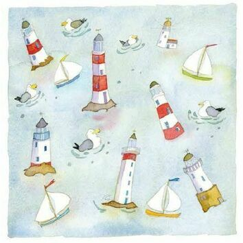 Emma Ball Blank Greetings Cards - Around The Lighthouse