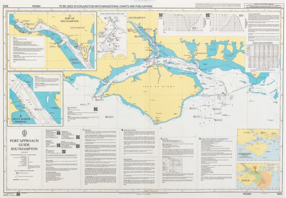 8002 Port Approach Guide Southampton Admiralty Chart only 3000