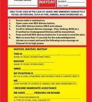 Mayday Procedure Card for DSC VHF