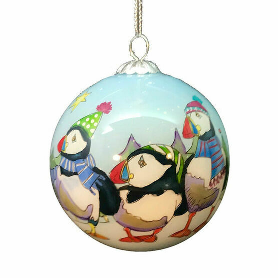 Emma Ball Puffin Hand Painted Glass Bauble