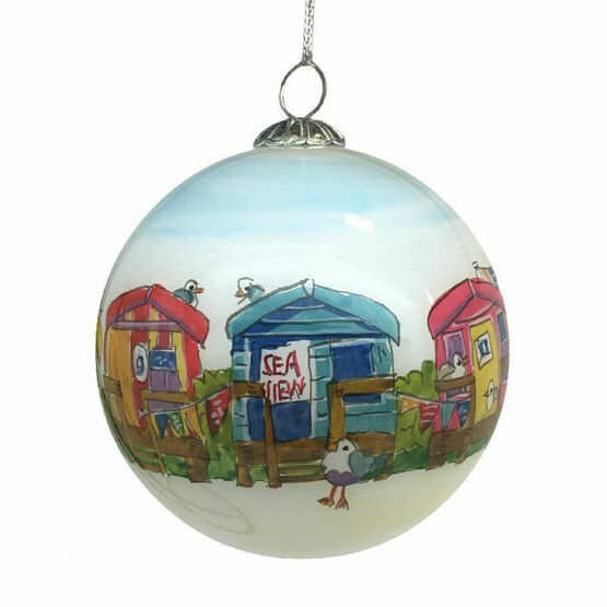 Emma Ball Beach Huts Hand Painted Glass Bauble