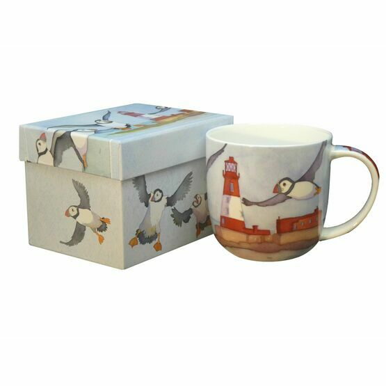 Emma Ball Puffins and a Lighthouse Bone China Mug with Gift Box