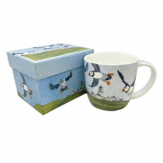 Emma Ball Flying Puffins Bone China Mug with Gift Box