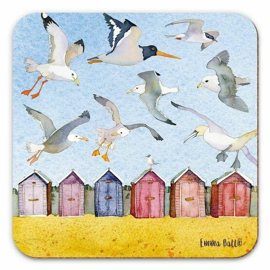 Emma Ball Beach Huts and Seabirds Single Coaster