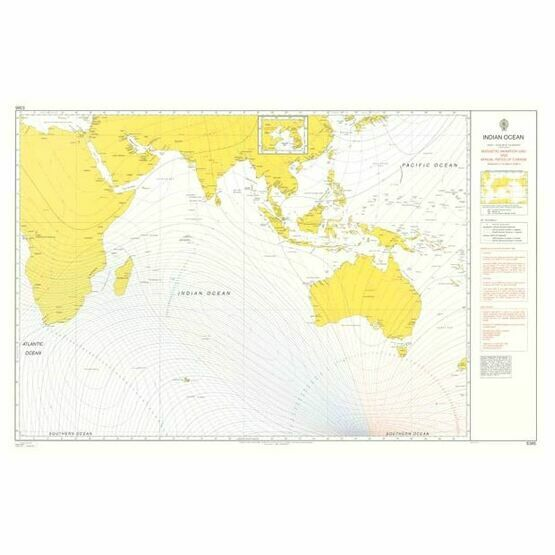 Admiralty 5385 Magnetic Variation, 2005 & Annual Rates of Change - Indian Ocean