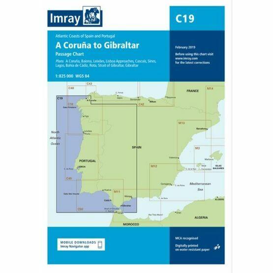 Imray C19 A Coruna to Gibraltar Passage Chart