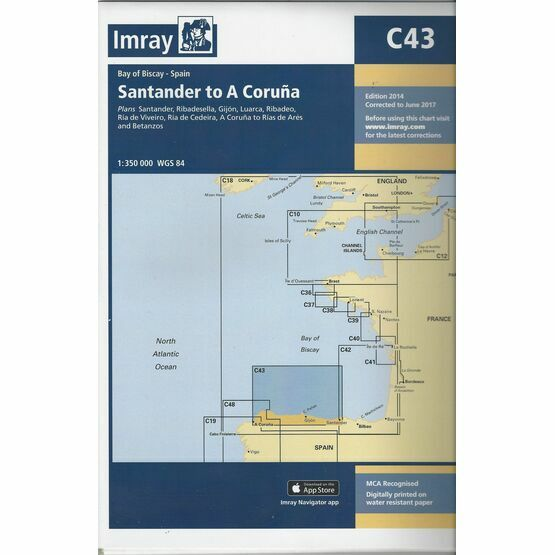 Imray Nautical Chart C43 Santander to A Coruna