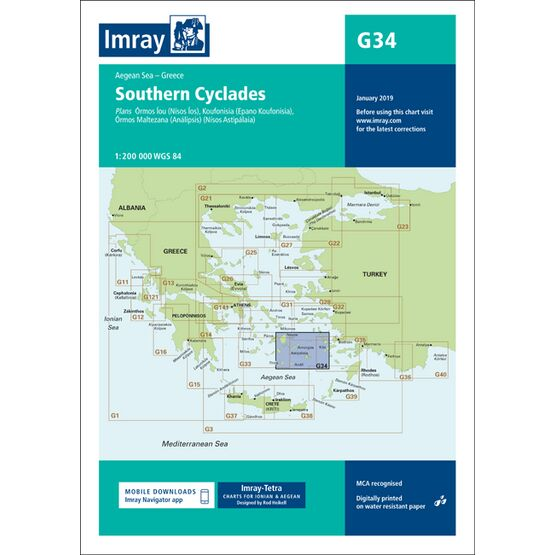 Imray Chart G34: Southern Cyclades (East Sheet)