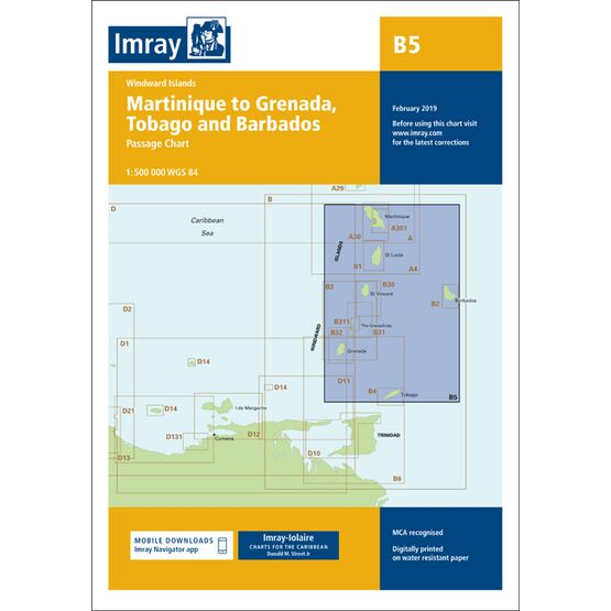 Imray B5 Martinique to Tobago and Barbados Passage Chart