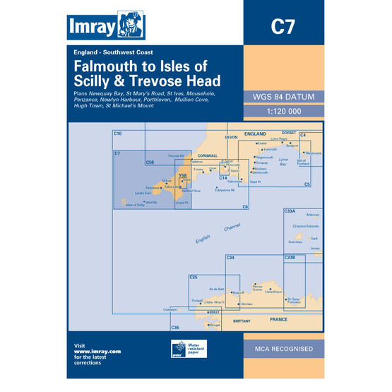 Imray Chart C7: Falmouth to Isles of Scilly & Trevose Head