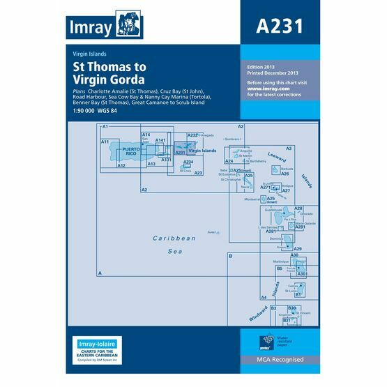 Imray Nautical Chart A231 Virgin Islands - St. Thomas to Virgin Gorda
