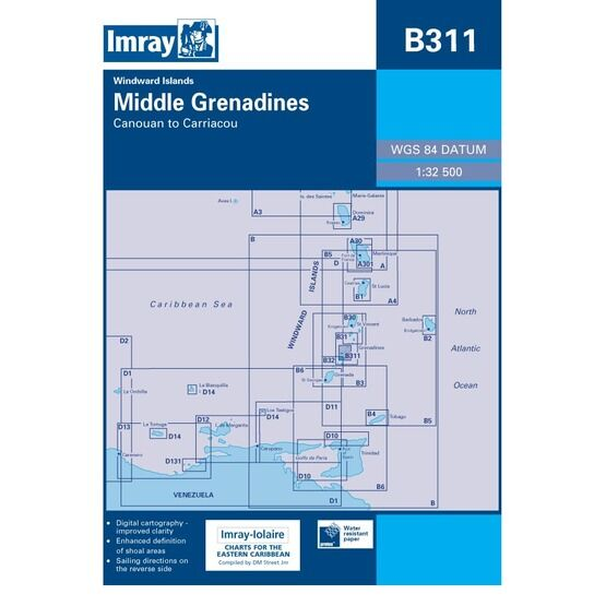 Imray Chart B311 Middle Grenadines