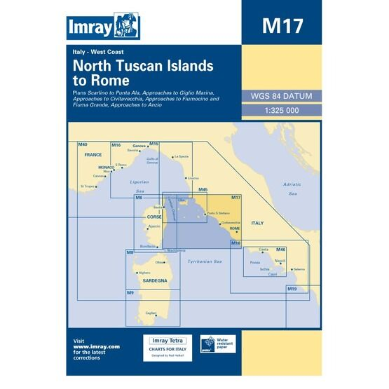 Imray Chart M17 North Tuscan Islands to Rome