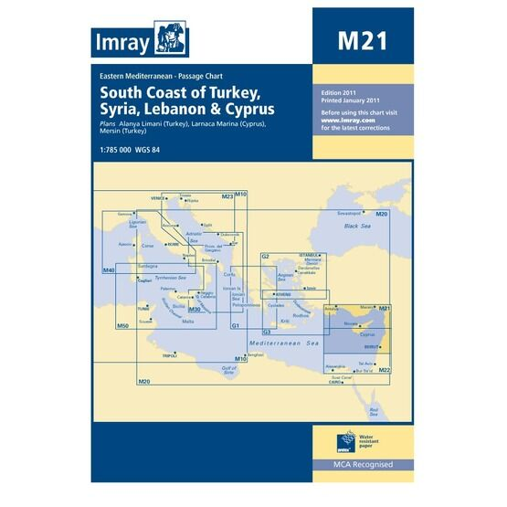 Imray Chart M21: South Coast of Turkey, Syria, Lebanon & Cyprus