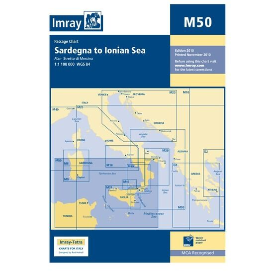 Imray M50 Sardegna to Ionian Sea Passage Chart