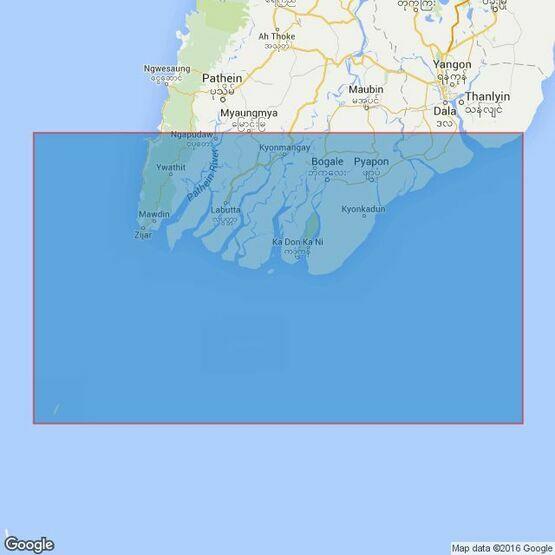 823 Bassein River to Rangoon River Admiralty Chart