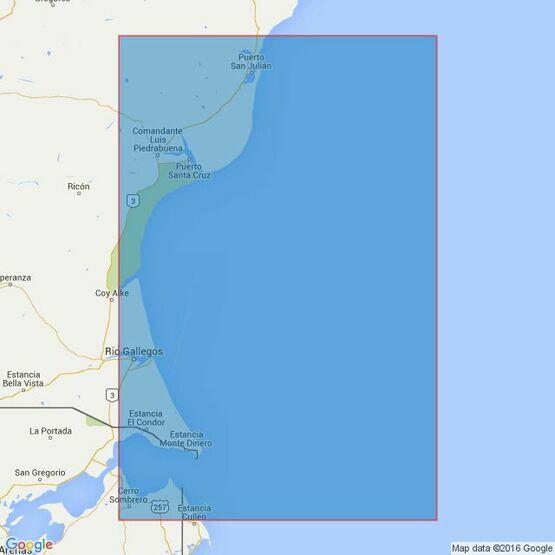 3107 Puerto San Julian to Estrecho de Magallanes Admiralty Chart